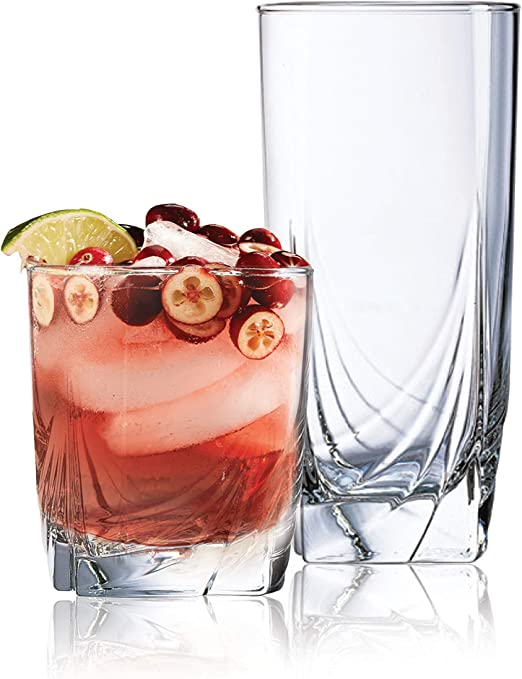 Wine Set of 16 Durable Drinking Glasses and Cocktails Glassware Set Includes 8-21 oz Highball Glasses 8-14 oz Tumbler Glasses Ideal for Water Heavy Base Glass Cups Beer Juice