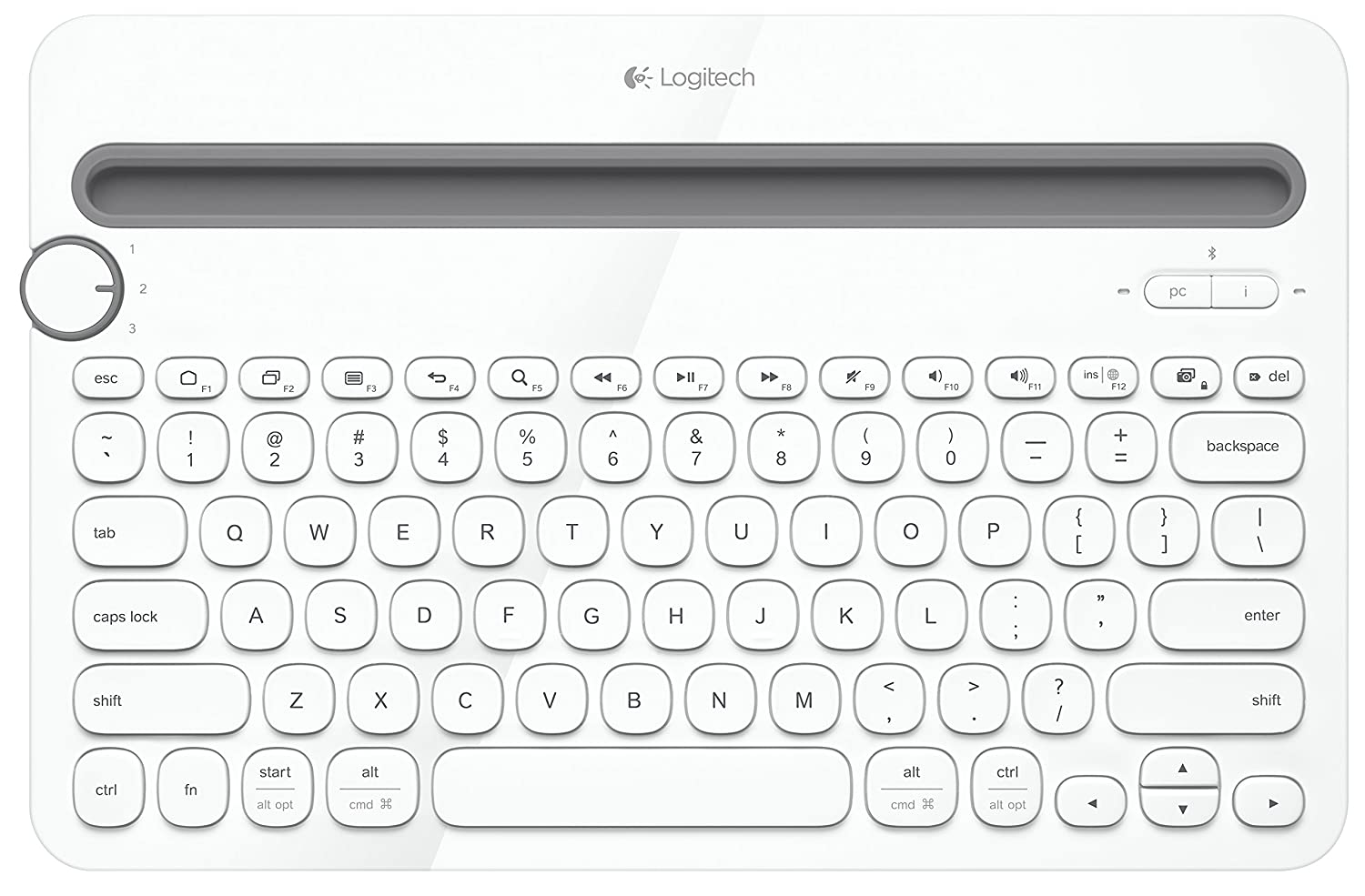Logitech Bluetooth Multi-Device Keyboard K480 for Computers, Tablets and Smartphones, White