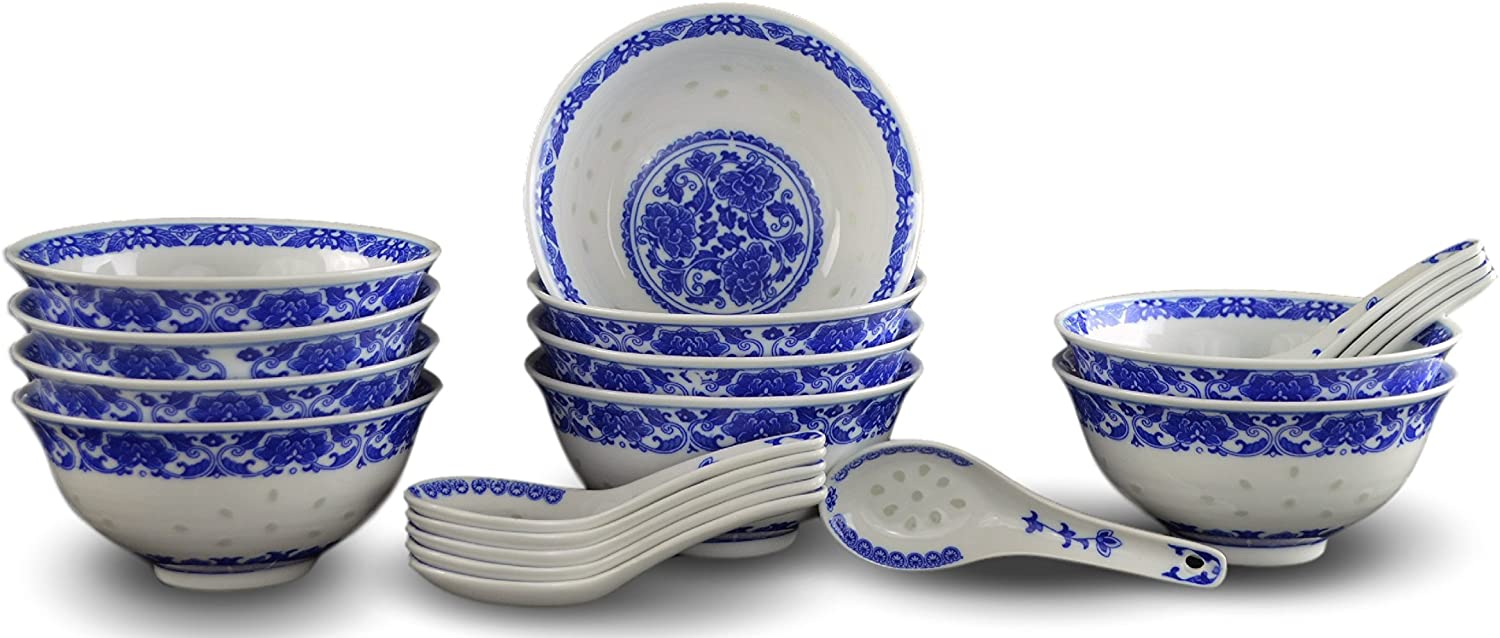 Dessert Bowls Salad Set Of 2 6.5 inches x 2.5 inches Pasta White /& Blue Patterned Assorted Porcelain Bowls Great For Soup