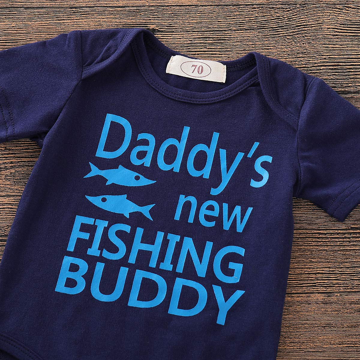 Muasaaluxi Newborn Baby Boys Daddys New Fishing Buddy Letter Printed Romper Cartoon Shorts Pants Hat Summer Outfit 0-24M