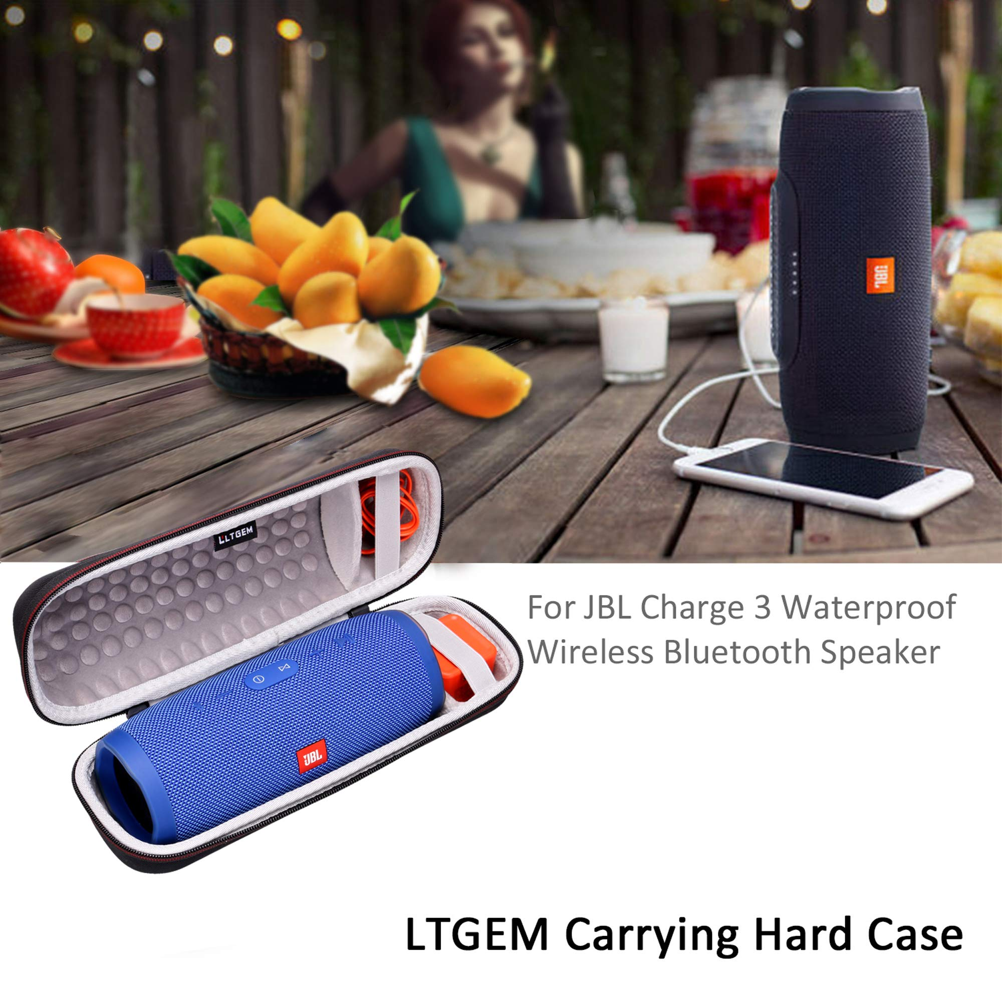 LTGEM Case for JBL Charge 3 Waterproof Portable Wireless Bluetooth Speaker. Fits USB Cable and Charger. [ Speaker is Not Include ] by LTGEM (Image #3)