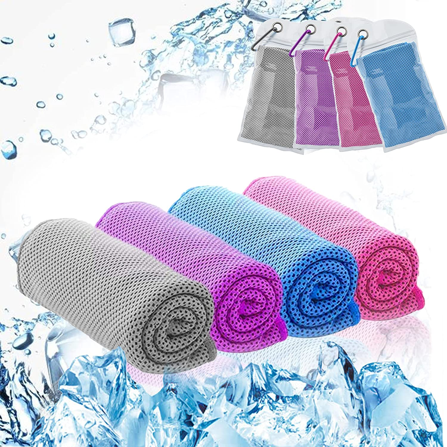 for Outdoor Travel Sports Fitness Quick Sweat Absorption Microfiber Unisex Sports Towel Light Blue EasyULT Cooling Towel with Portable Plastic Bottle