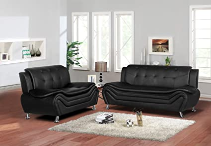 Container Furniture Direct S5410-S+L Arul Leather Air Upholstered Mid  Century Modern Set with 77.5\