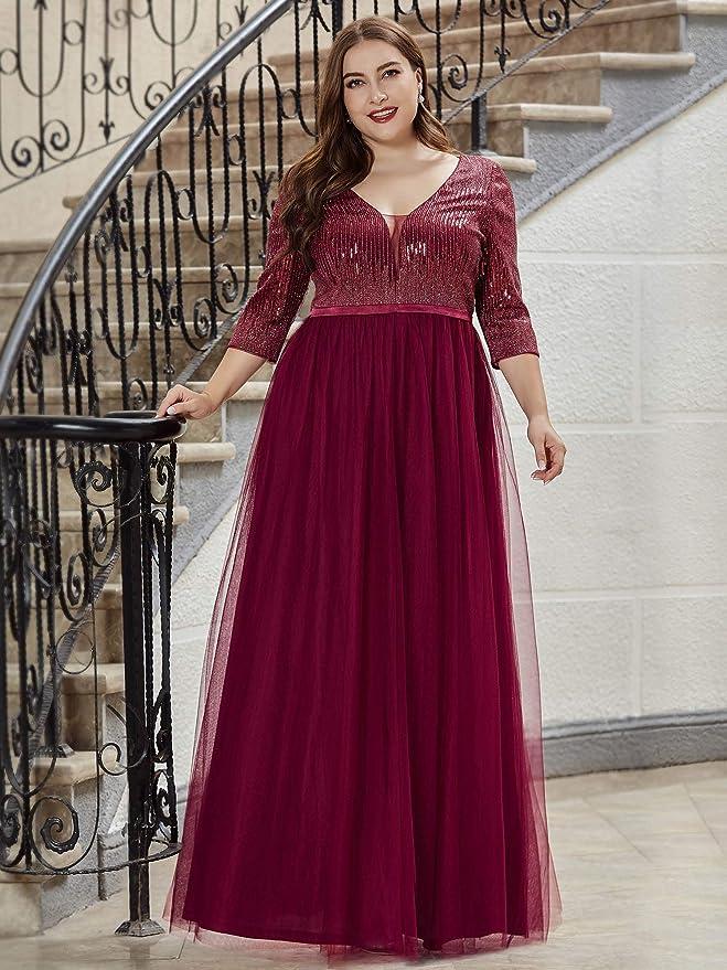 Ever-Pretty Womens V-Neck 3//4 Sleeve Lace Floor Length A Line Elegant Plus Size Wedding Evening Dress 00806PL