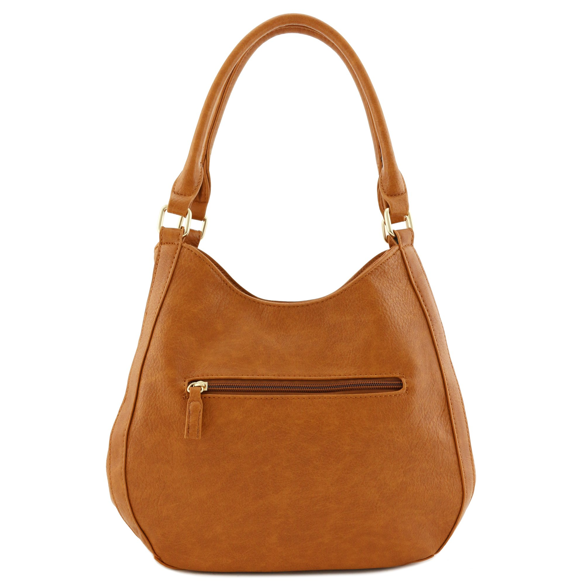 Light-weight 3 Compartment Faux Leather Medium Hobo Bag Tan by FashionPuzzle (Image #5)
