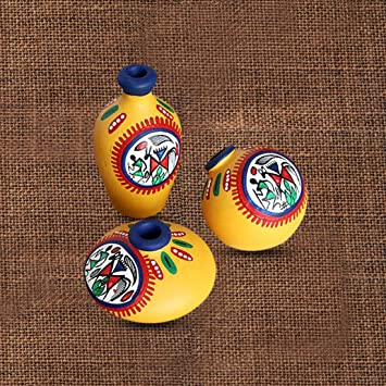 ExclusiveLane Terracotta Warli Hand-Painted Living Room Decorative Miniature Small Pots Set (9.4 cm x 9.4 cm x 8.9 cm, Yellow, Set of 3 Mini Pots)