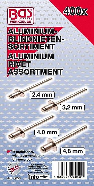 BUYGOO 500Pcs Blindnieten Sortiment Aluminium Blindnieten Popnieten Set Pop Nieten Stahlniete in 5 verschiedenen Gr/ö/ßen im Sortimentskasten