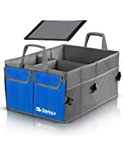 Car Trunk Organizer by Starling's-Blue: Super Strong, Foldable Storage Box for Auto, Truck, SUV - Nonslip/Waterproof 3 Layers Bottom W/Design Box