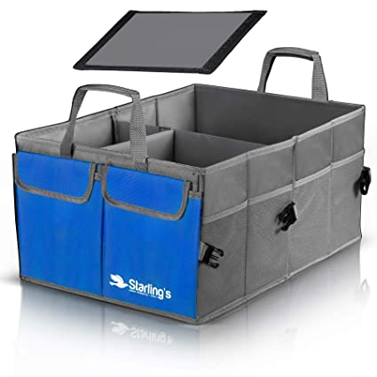 Cargo Box For Suv >> Starling S Car Trunk Organizer Super Strong Foldable Storage Cargo Box For Suv Auto Truck Nonslip Waterproof Bottom Fits Any Vehicle Blue
