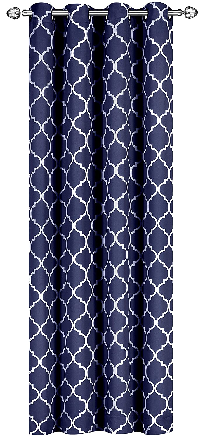 Printed Blackout Room Darkening Color Block Grommet Curtain Panel 52 inch wide by 84 inch long - Decorative Curtains by Utopia Bedding (Printed Grey) UB0123