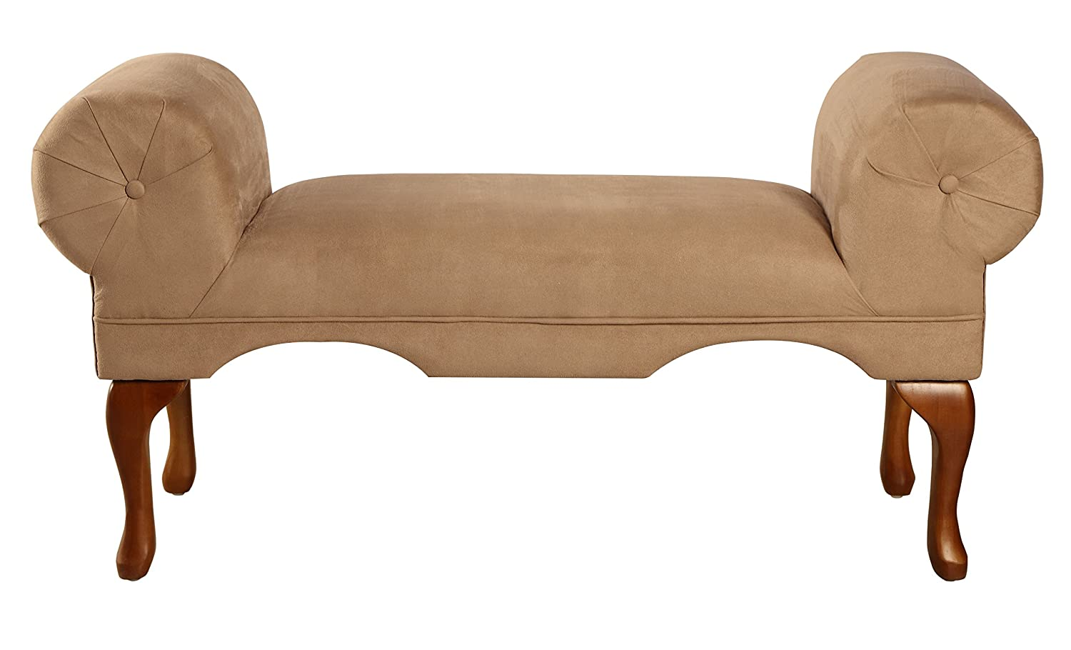 ACME 05629 Aston Microfiber Rolled Arm Bench, Beige Finish