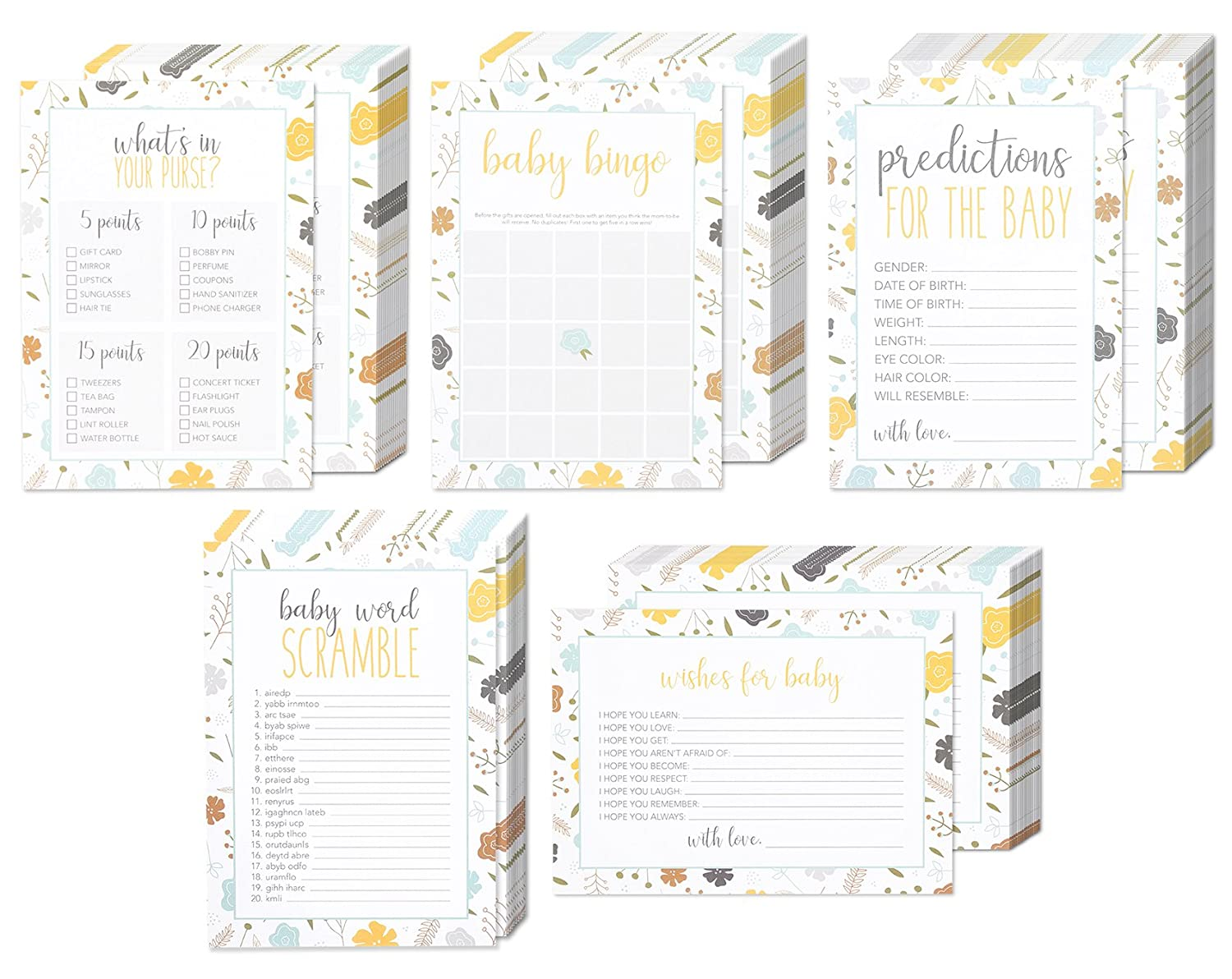 Amazon Set Of 5 Baby Shower Game Card Packs For Boy Or Girl