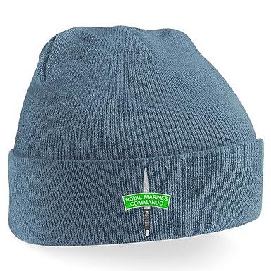 Blue Rock Brand Mens , Womens, Unisex Marines Commando Embroidered Beanie  Hat Airforce Blue