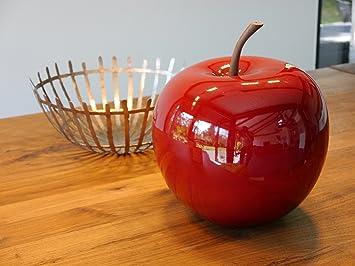 Objets de décoration Pomme en fibre de verre, rouge brillant, 25 x