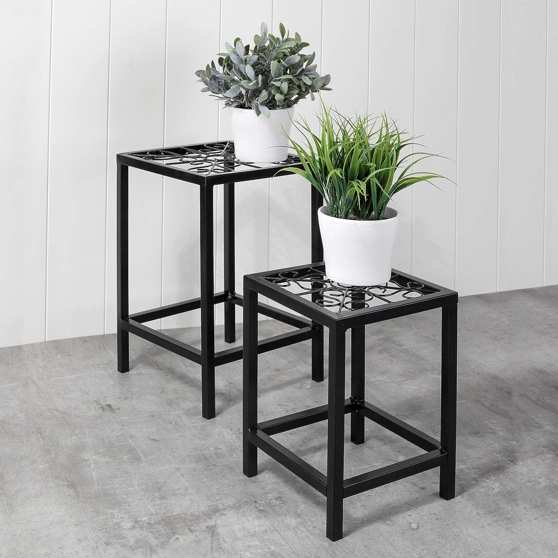 Beistelltisch Metall Hocker Gartenhocker Pflanzenst/änder 38 cm und 28 cm Metall Blumenhocker 2er Set