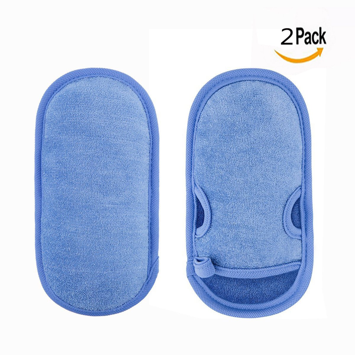 OFKPO 2PCS Soft Bath Gloves Scrubbing Back Rubbing Exfoliating Cleaning Gloves Shower Gloves For Body Washing Or Shower (Blue)