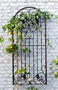 H Potter Large Wall Trellis Indoor Outdoor Walls Wrought Iron Heavy Scroll Metal Decoration (Large W/Wall Brackets)