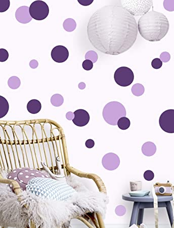 Polka Dot Wall Decals for Girls Room Walls Decor Stickers Bedroom Kids Art  (Dark & Light Purple)
