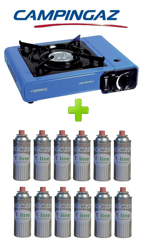 Campingaz Bistro 2 - Hornillo de mesa con 12 cartuchos de gas incluidos - Potencia: 2.300 W - Incluye funda y encendido piezoeléctrico: Amazon.es: Hogar