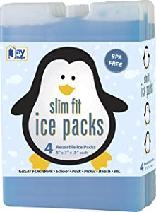 reusable Ice Pack for Lunch Box - cooler Freezer Packs   large Slim fit & Long-Lasting for your Lunch bag or Cooler-(Set of 4)