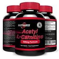 Acetyl L-Carnitine, Powerful Fat Burner, The Amino Acid that Works as an Appetite Suppressant and Increases Weight Loss, L-Carnitine is a Fatigue Supplement that Increases Stamina, 500mg, 120 Tablets