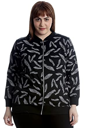 d486ffb7942 Nouvelle Collection Womens Plus Size Bomber Jacket Feather Print Ribbed  Zipper  Amazon.co.uk  Clothing