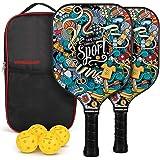 Vinsguir Pickleball Paddle Set - 2 Premium Graphite Rackets Honeycomb Composite Core with Cushion Comfort Grip & 4 Balls…