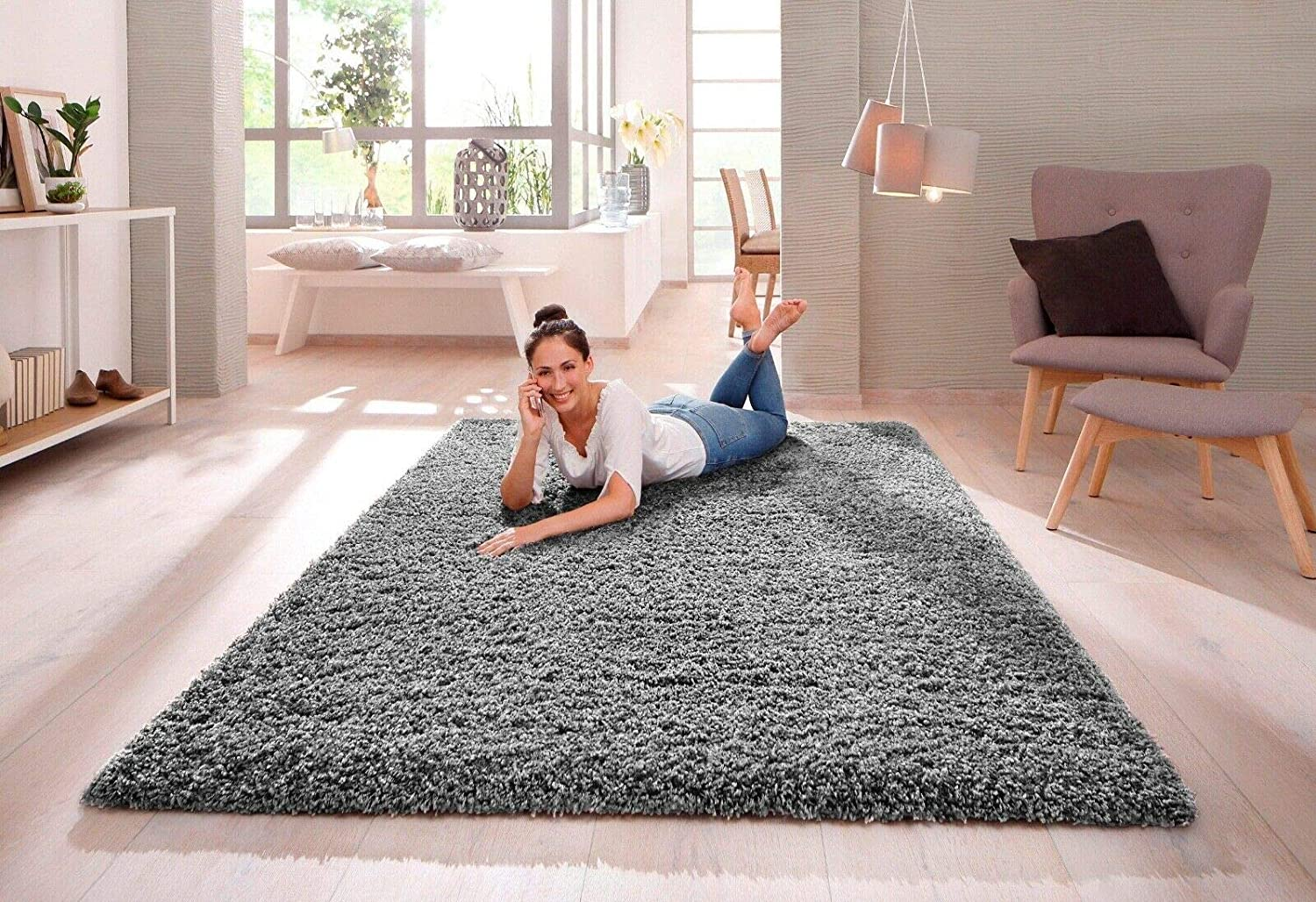 Shaggy Rug 30mm 3cm Modern Rugs Living Room Extra Large Small Medium Rectangular Size Soft Touch Thick Pile Living Room Area Rugs Non Shedding Grey 160cm X 230cm 5 5ft X 7 5ft
