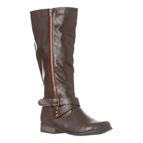 38b5271a7dc Riverberry Women's Sophia Smooth Knee-High Low Heel Casual Riding Boots