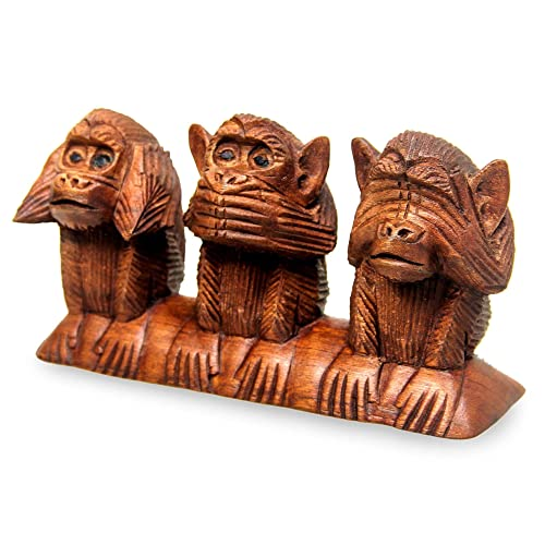 NOVICA 85365 Three Wise Monkeys Wood Statuette