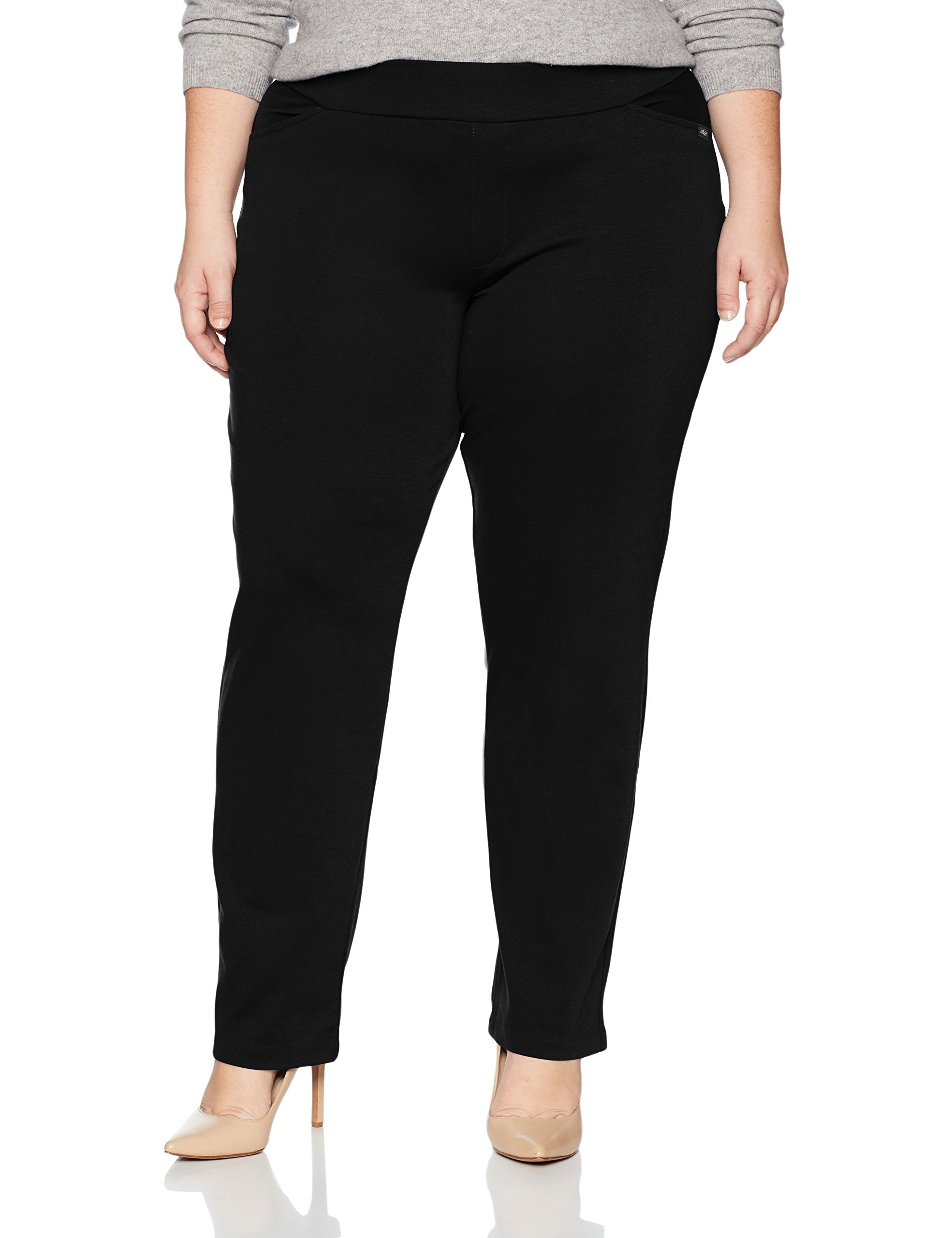 Chic Classic Collection Women's Plus Size Knit Pull-on Pant, Black, 16P