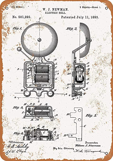 LORENZO Fire Alarm Bell Patent Vintage Metal Cartel de Chapa ...