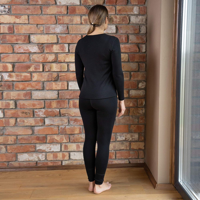 Menique Ensemble de vêtements de sport deux pièces sans coutures pour femme Midweight Manches longues et Leggings Merino Noir