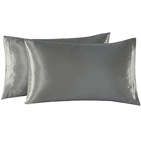 Exq Home Satin Pillowcases Set Of 2 For Hair And Skin King Size 20x40 Grey Pillow Case With Envelope Closure (Anti Wrinkle,Hypoallergenic,Wash Resistant) by Exq Home