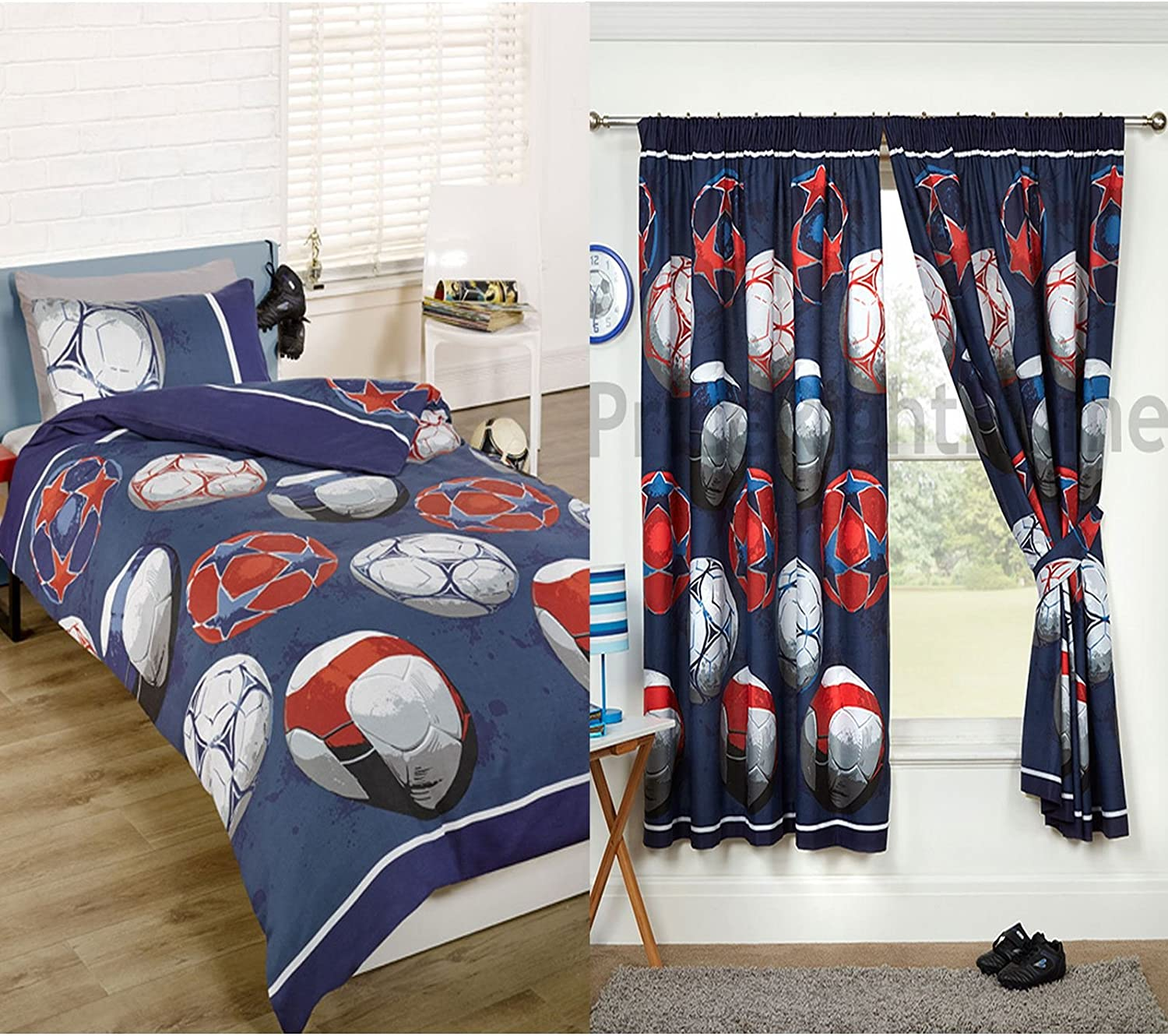 """Football Red Single Duvet Cover and Pillowcase Set Matching Curtains 72/"""" Drop"""