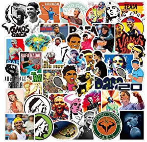 50Pack Rafael Nadal Stickers for Laptop and computer, Spanish pro tennis player vinyl waterproof photo Stickers for Water Bottle Hydro Flask Car Bumper Luggage,Tennis star Graffiti Decals for Teens Girls Boys Adults (Rafael Nadal)