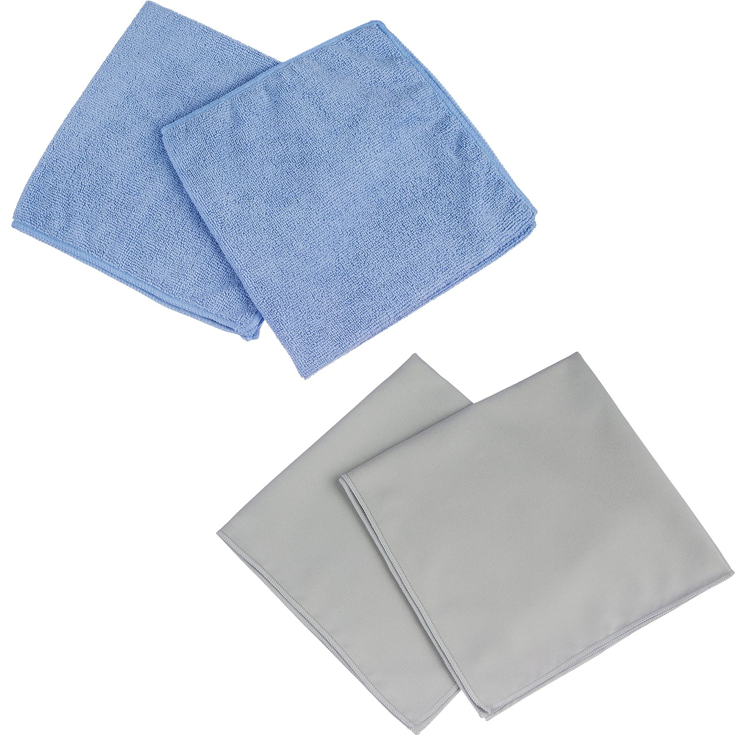 Antibacterial Microfiber Cleaning Cloth - Kills Bacteria, Odors, Viruses - Safe for Kids & Pets - 4 Pack Contains 2 Household and 2 Glass Cleaning Cloths