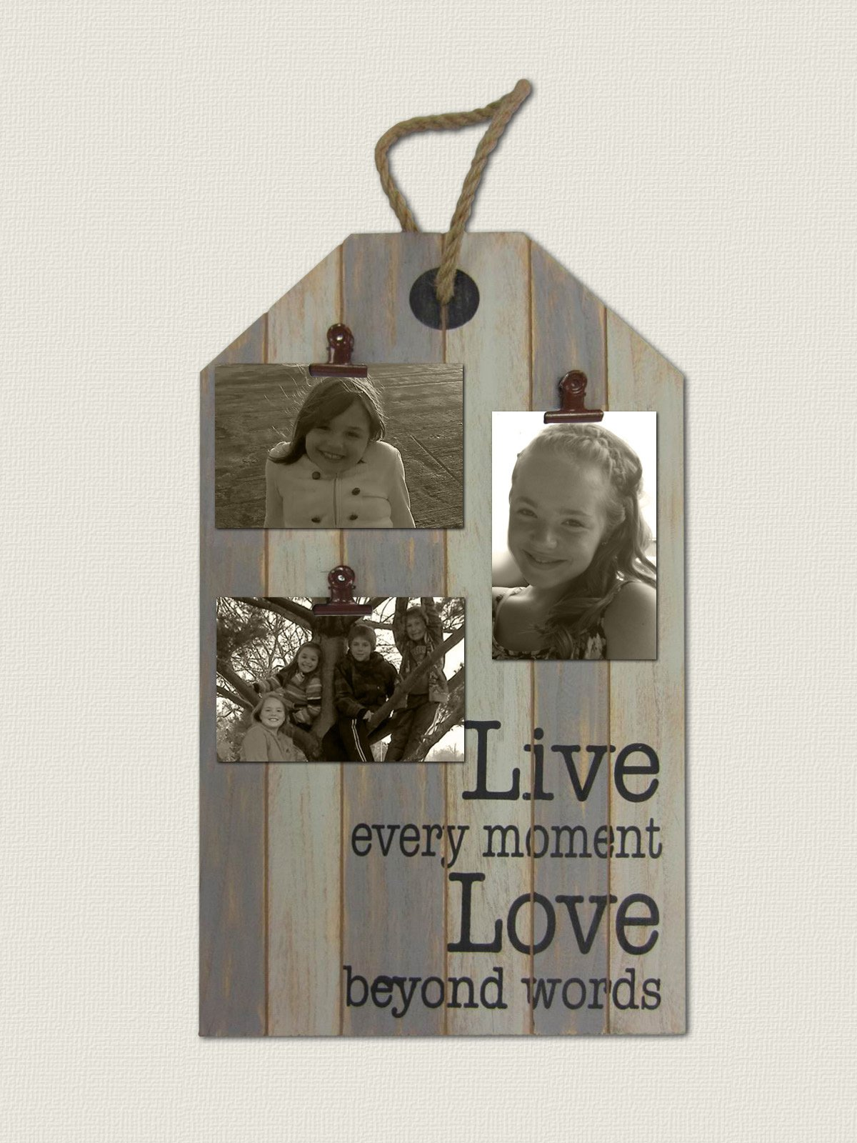''Live Every Moment'' Wood Wall Picture Clamps