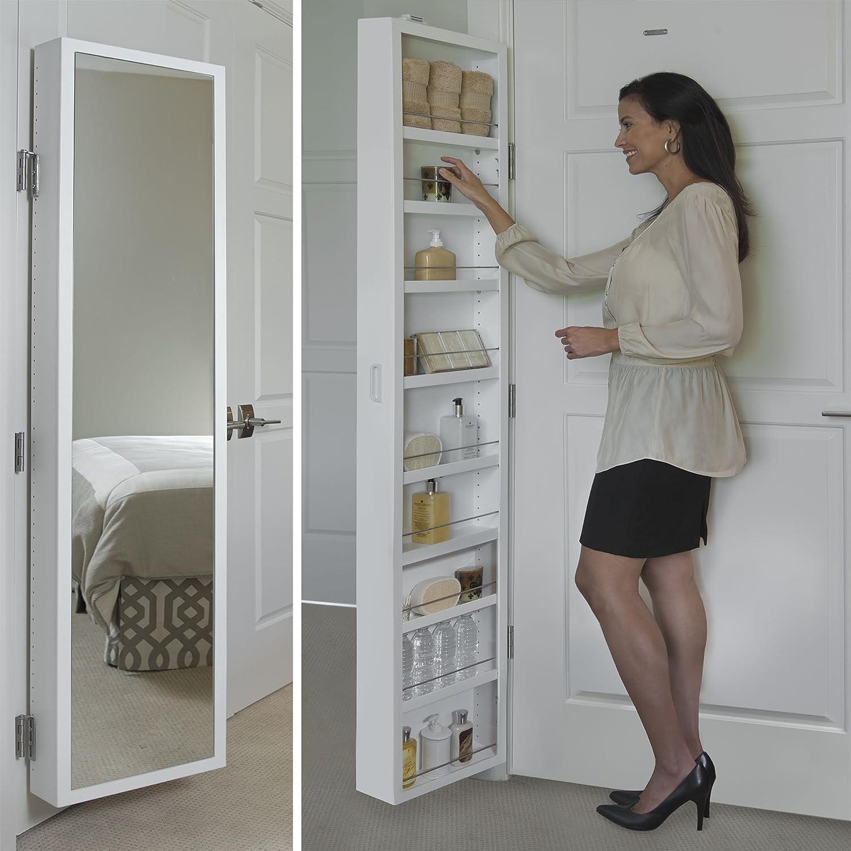 Amazon Com Cabidor Deluxe Mirrored Behind The Door Adjustable Medicine Bathroom Kitchen Storage Cabinet Home Improvement