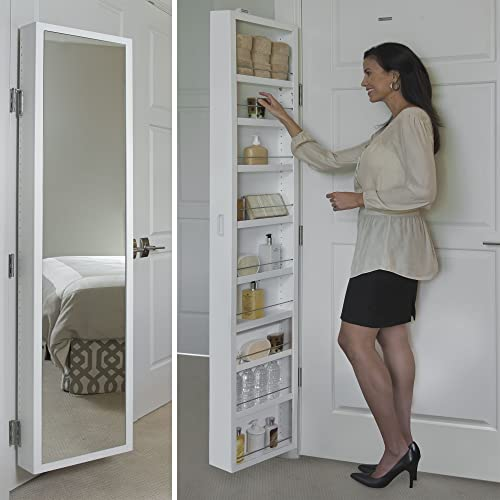 Cabidor Deluxe Mirrored Behind The Door Adjustable Medicine, Bathroom, Kitchen Storage Cabinet