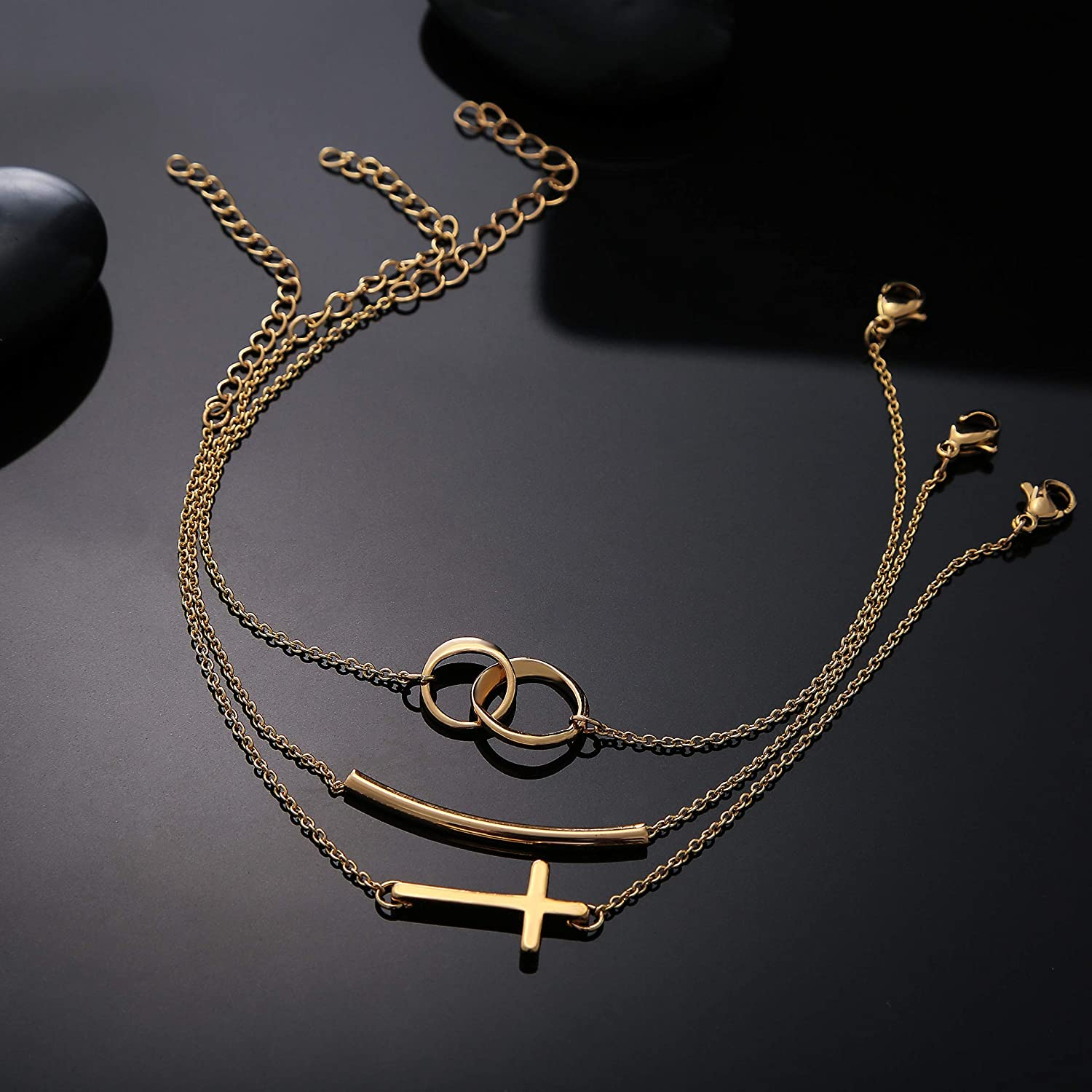 Zealmer Delicate Layered Gold Chain Coin Bracelet Set Bead Pearl Curved Tube 2 Pieces Women ERP-238-86