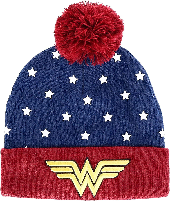 Juniors DC Wonder Woman Navy, Red & Gold Cuff Pom Beanie Standard: Clothing