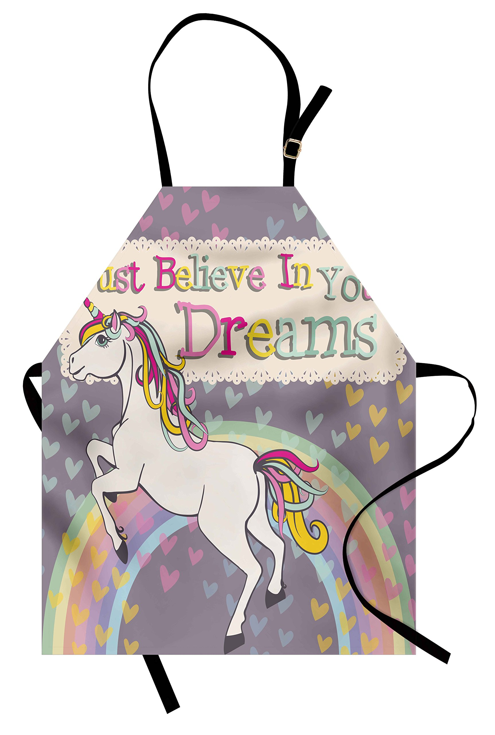 Ambesonne Teen Girls Apron, Unicorn Figure with Believe in Your Dreams Inspiring Quote Illustration, Unisex Kitchen Bib Apron with Adjustable Neck for Cooking Baking Gardening, Lilac and Beige