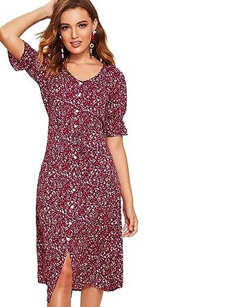 44028a10ac Milumia Women's Boho Floral Button Down Belted Flounce Sleeve Midi  DressDress