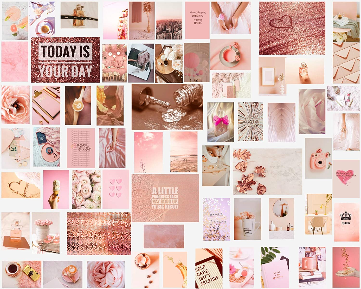 Pinky Lemon Wall Collage Kit Aesthetic Pictures, Dusty Pink Rose Gold Room Decor for Teen Girls, Photo Collage Kit Set 60pc 4x6'' 6 Posters 8x11''