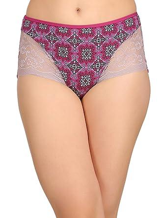 a8619aa6305e Clovia Women's Cotton High Waist Printed Hipster Panty with Lace ...