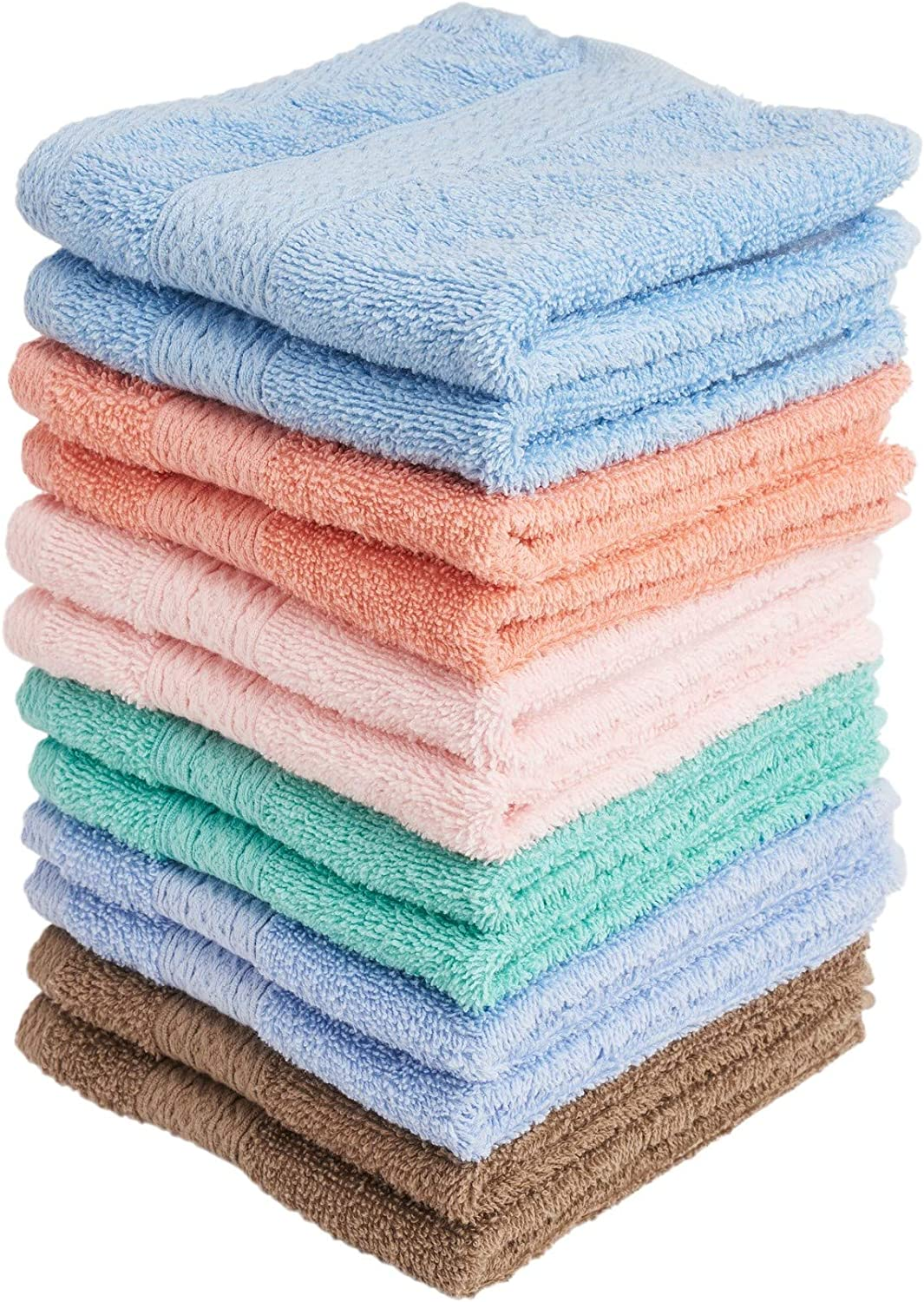 6-Pack Colors Size13 Face-Cloth Washcloths Set,100/% Cotton High Absorbent