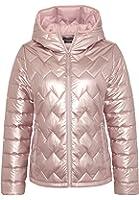 EIGHT2NINE Damen Steppjacke im Metallic-Look   Warme Winterjacke mit Kapuze in Grau & Rosé