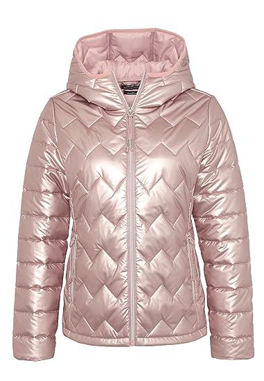Eight2Nine Damen Steppjacke im Metallic Look | Warme Winterjacke mit Kapuze in Grau & Rosé