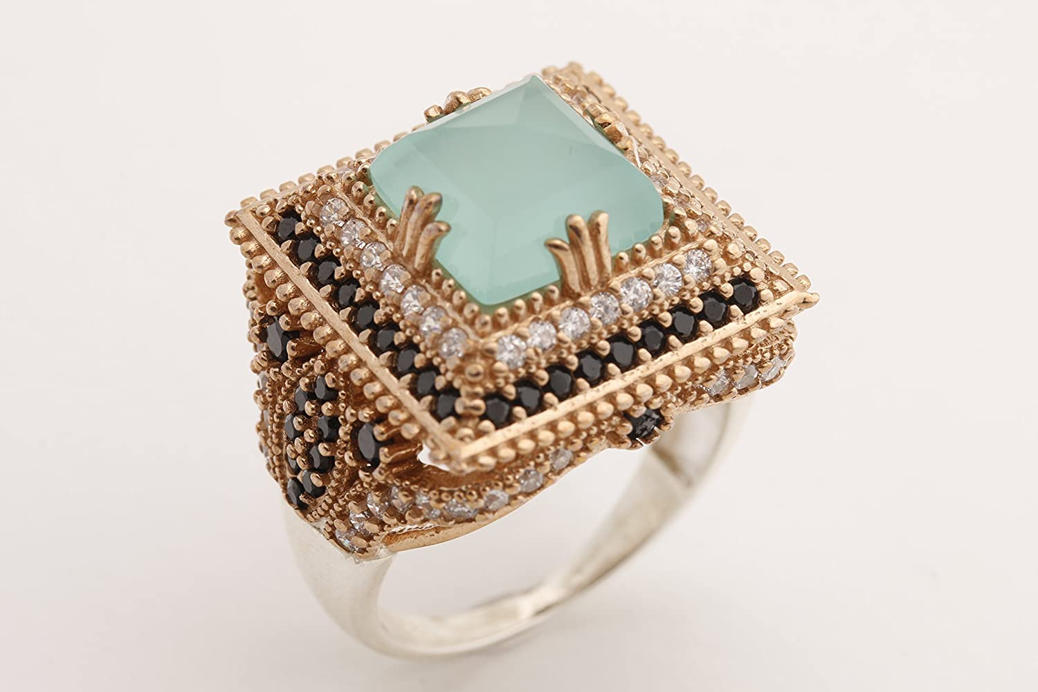 Turkish Handmade Jewelry Square Shape Aquamarine and Round Cut Black and White Zircon Topaz 925 Sterling Silver Ring Size Option